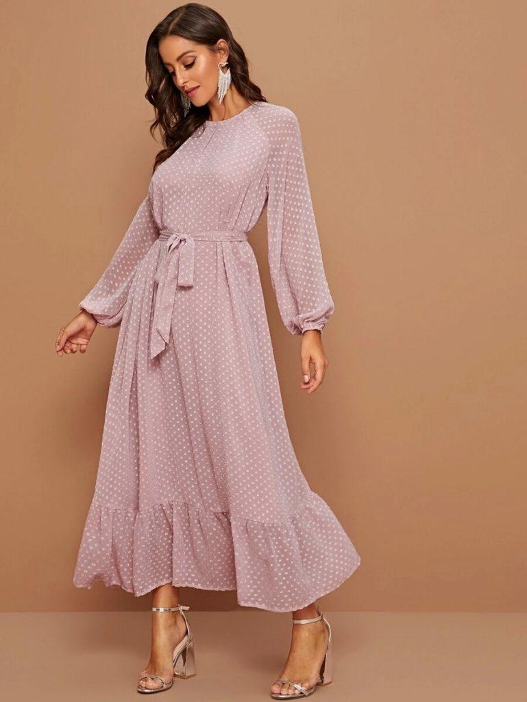 flounce hem dot dress