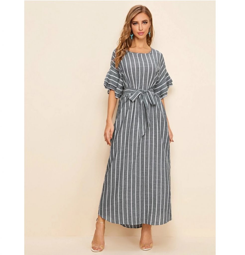 hijab fashion stripe dress