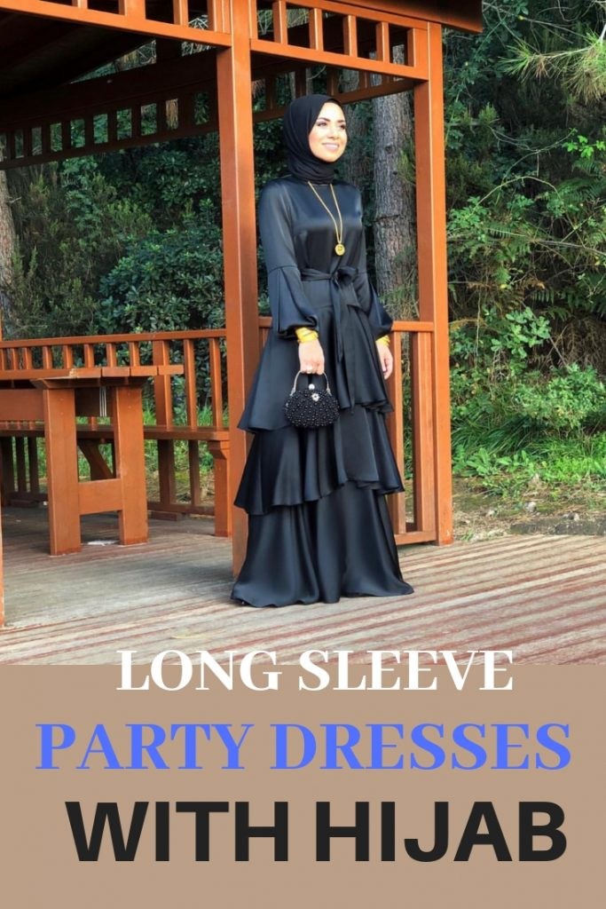 Long sleeves hijab dresses with hijab