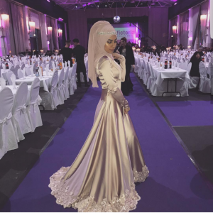 Long sleeve party dress with hijab