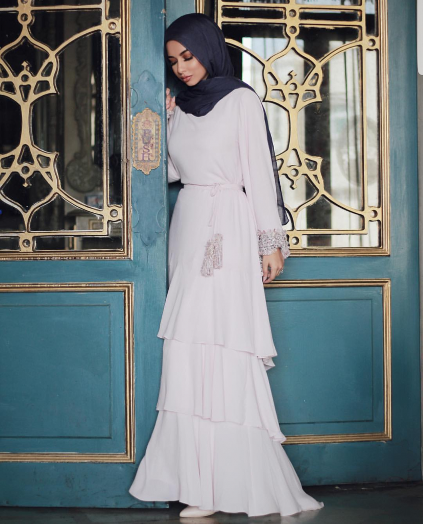 long sleeves party dress with hijab