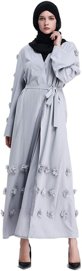 muslim woman in gray abaya