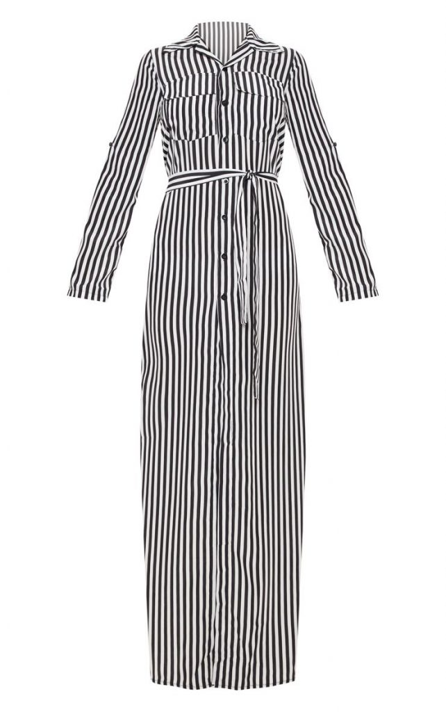 Stripped Maxi Shirt Dress