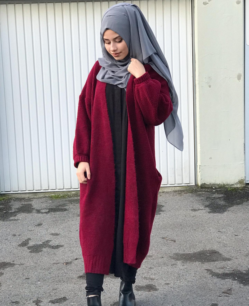 how to wear ovesized long cardigans with hijab outfits