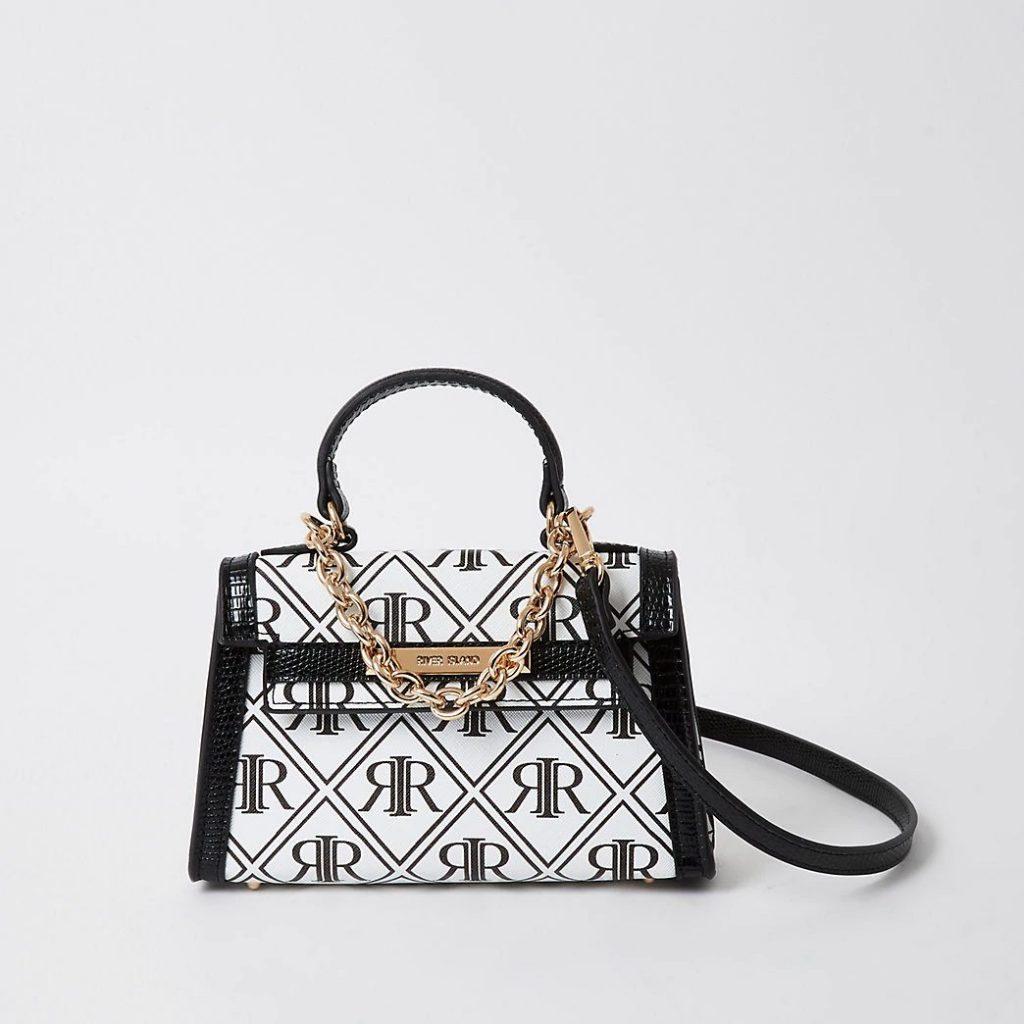 black and white replica handbag