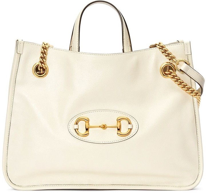 white chain tote bag