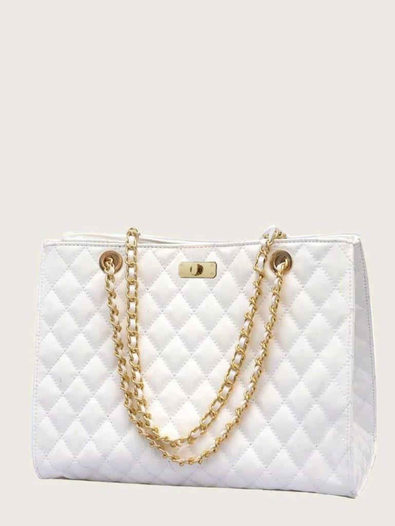 white chain bag