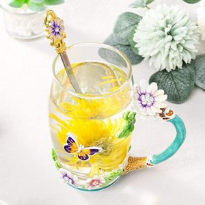 glass flower tea cup with spoon