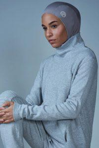 woman with grey sport hijab