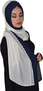 woman with lace hijab