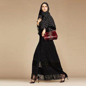 open lace abaya