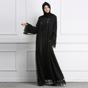woman wearing black hijab and abaya