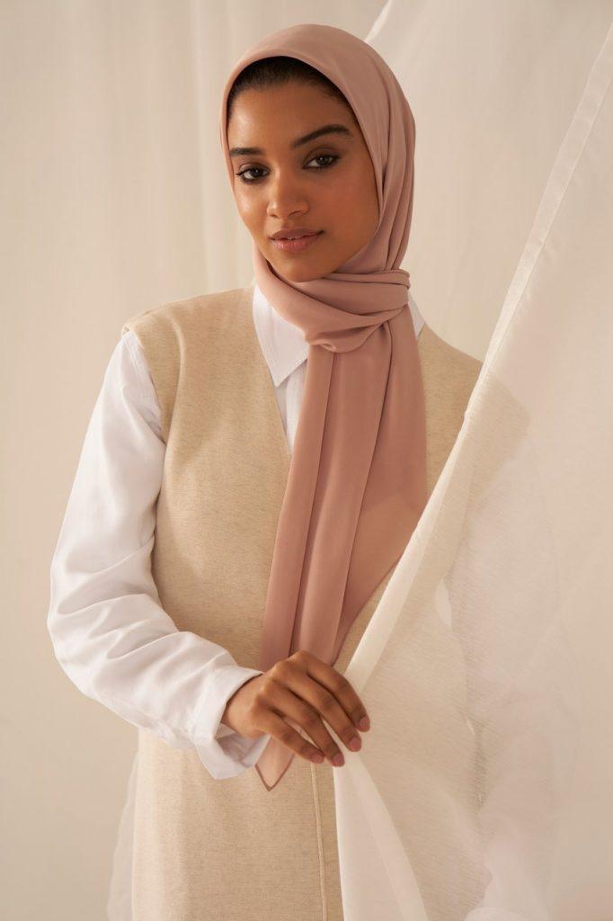 rosewood colour hijab