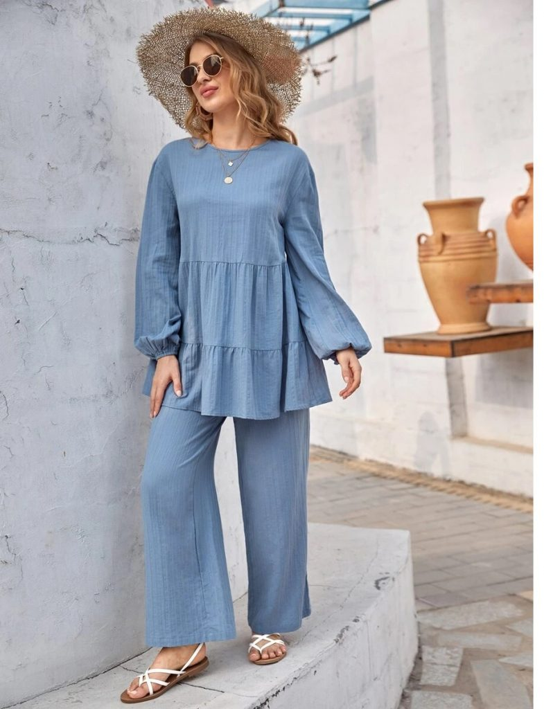 blue tunic and touser