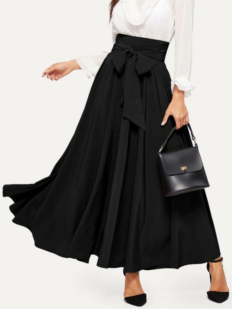 high waist swing skirt