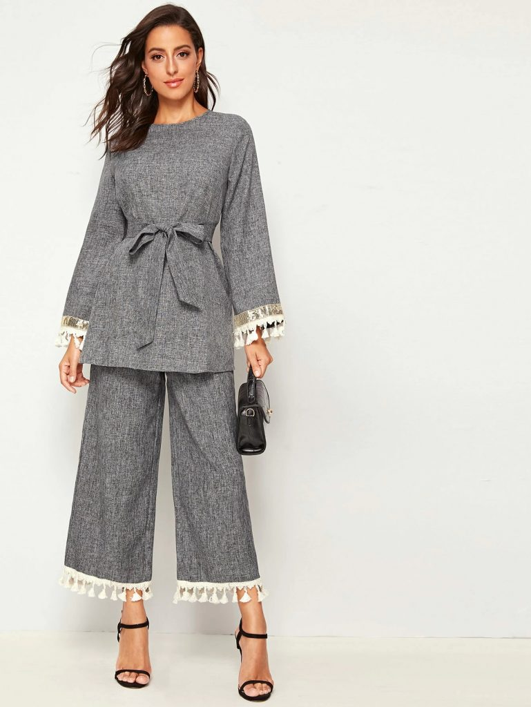 grey trouser tunic set
