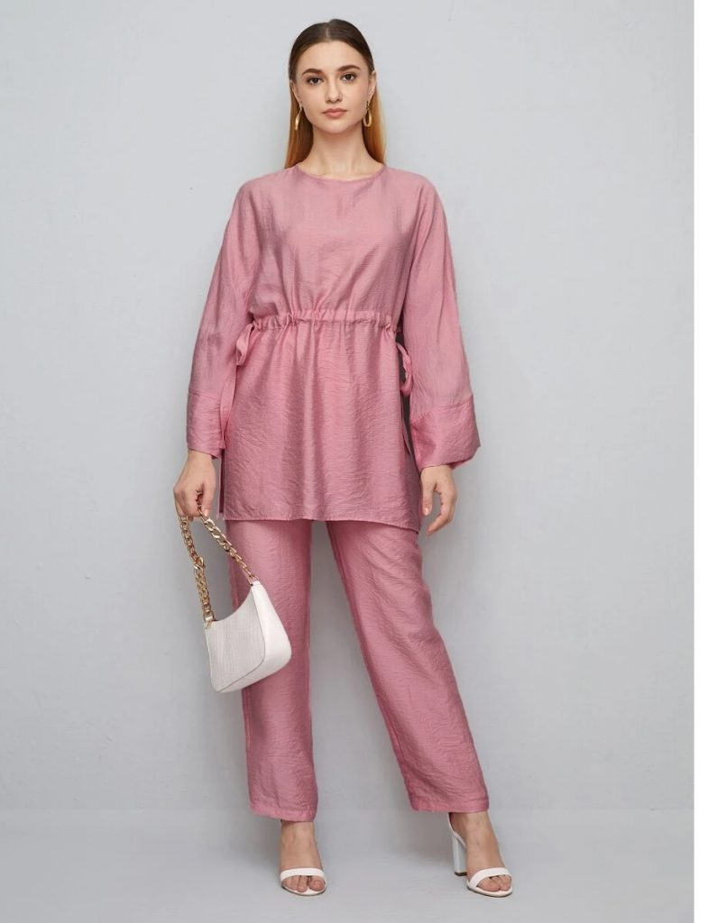 pink tunic and trouser
